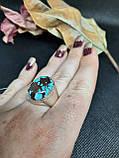 Бирюза кольцо с бирюзой 18,3 размер, натуральная бирюза в серебре Индия, фото 4