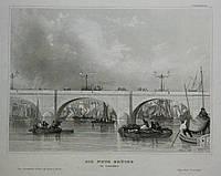 Гравюра Лондон, Новый Мост 19 век