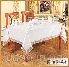 Скатерть  прямоугольная MAISON ROYALE 160*220 + 8 салфеток КДК цвет белый