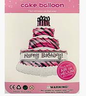 Фольгована кулька велика фігура торт Happy Birthday 90х66см Китай