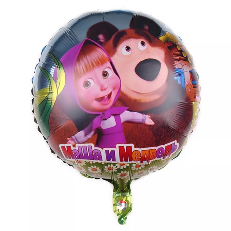 Фольгированный шар круглый маша и медведь 45 см