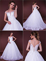 """Пышное свадебное платье со шлейфом """"Megan"""" с расшитым кружевом"""