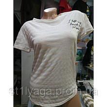 Бежевая футболка с принтом надписи полоска ЛЕТО