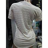 Бежева футболка з принтом написи смужка ЛІТО, фото 3