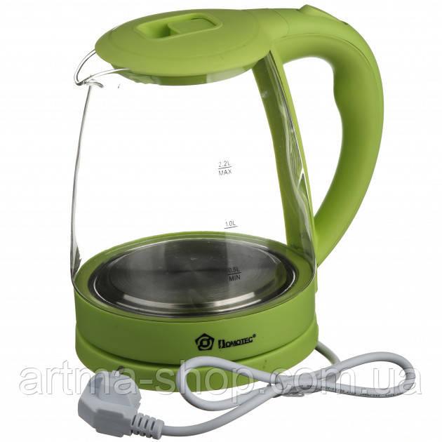 Электрочайник стеклянный Domotec Объем 2.2 л, Мощность 2200 Ватт Green (MS-8212)