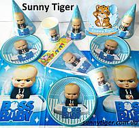 """Базовый набор """"Босс Молокосос"""" для детского Дня рождения: тарелки, стаканы, колпачки, скатерть, гирлянда"""
