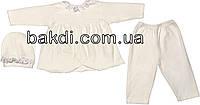 Крестильный нарядный костюм рост 62 2-3 мес велюр белый на девочку комплект костюмчик одежда для крещения крестин новорожденных малышей Б402