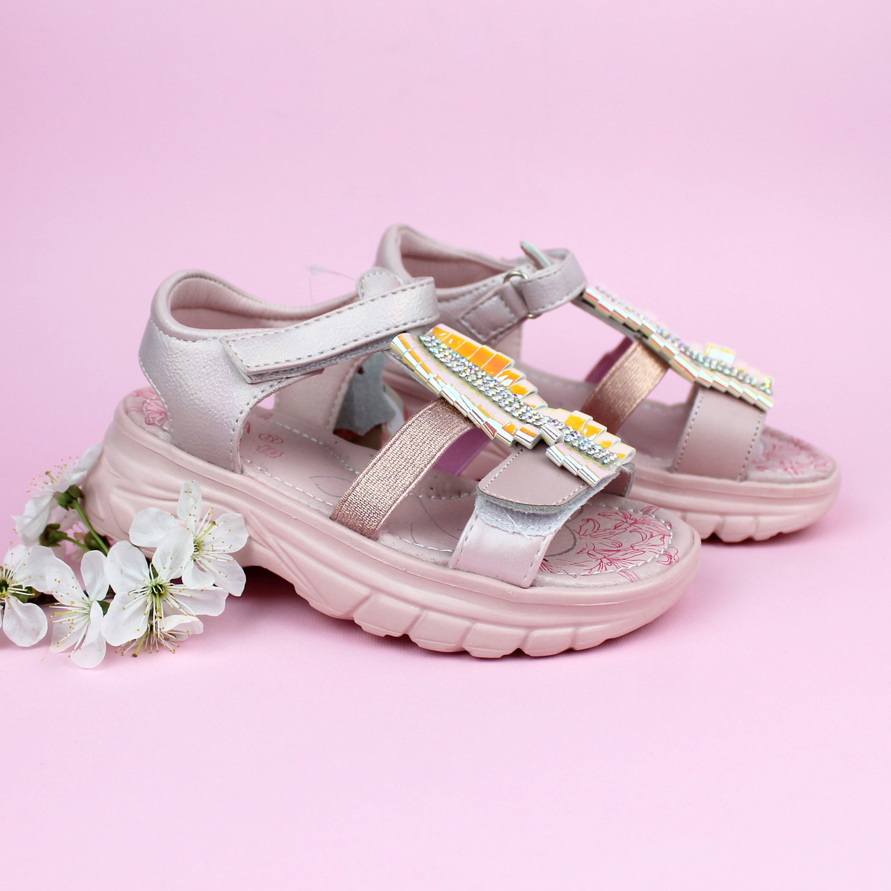 Розовые босоножки для девочки подошва танкетка тм Tom.m р. 27,28,29,30,31,32
