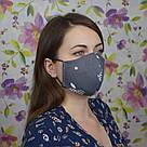 Серая маска защитная трехслойная многоразовая хлопковая, фото 2