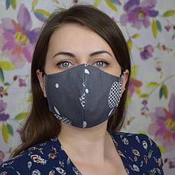 Серая маска защитная трехслойная многоразовая хлопковая. Отправка в день заказа