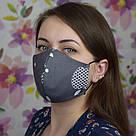 Серая маска защитная трехслойная многоразовая хлопковая, фото 3