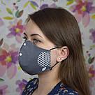 Серая маска защитная трехслойная многоразовая хлопковая, фото 5