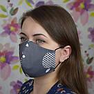 Серая маска защитная трехслойная многоразовая хлопковая, фото 6