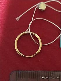 Серьги-конго из золота 585 пробы гладкие,классика, диаметр 12 мм
