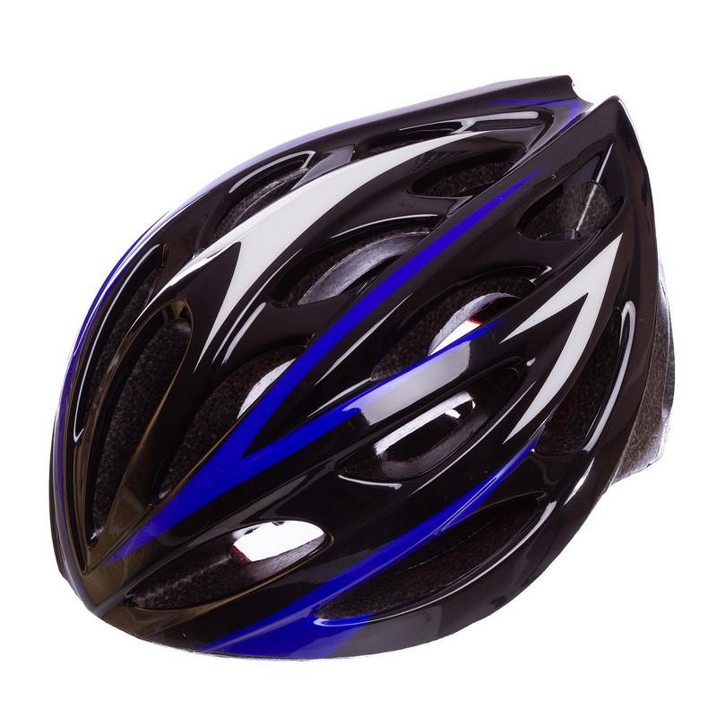 Шлем защитный велошлем с механизмом регулировки (L-58-61) черно-синий AY-21