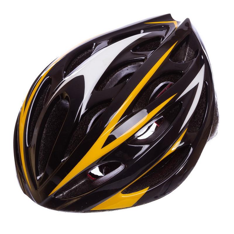 Шлем защитный велошлем с механизмом регулировки (L-58-61) черно-желтый AY-21