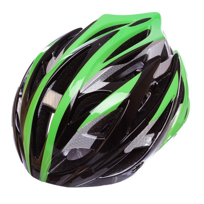 Шлем защитный велошлем с механизмом регулировки M (55-58) черно-зеленый HY032