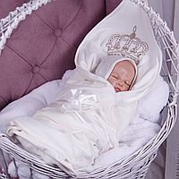 """Трикотажный конверт плед без утеплителя """"queen"""" (молоко)  Brilliant Baby"""
