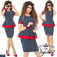 Платье женское баска горошек комбинированное черное с красный красивое стильное 42 44 46 48 50 Р