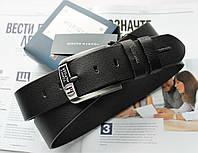 Мужской кожаный ремень для джинсов Tommy Hilfiger черный, фото 1