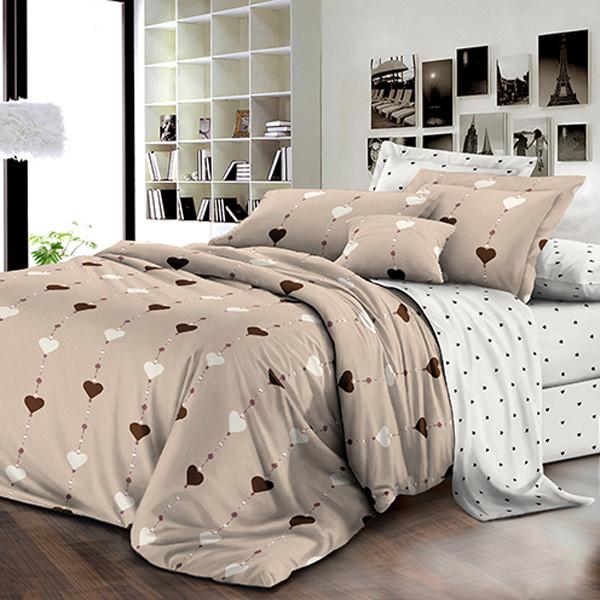 Комплект постельного белья ранфорс Гирлянда с сердечками Marcel 249 Двуспальный евро комплект