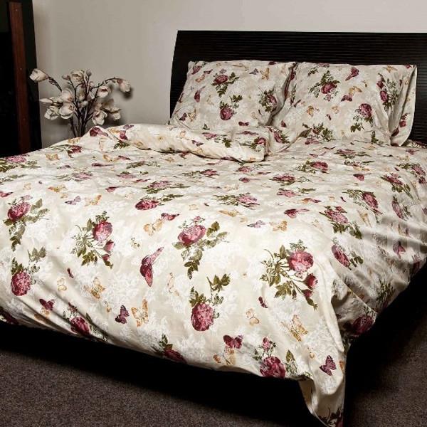 Комплект постельного белья ранфорс Розы Marcel 20-116 бежевый Двуспальный евро комплект