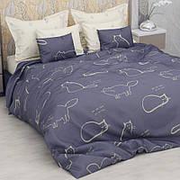 Комплект постельного белья ранфорс Котики Marcel 20-114 сине-бежевый Полуторный комплект