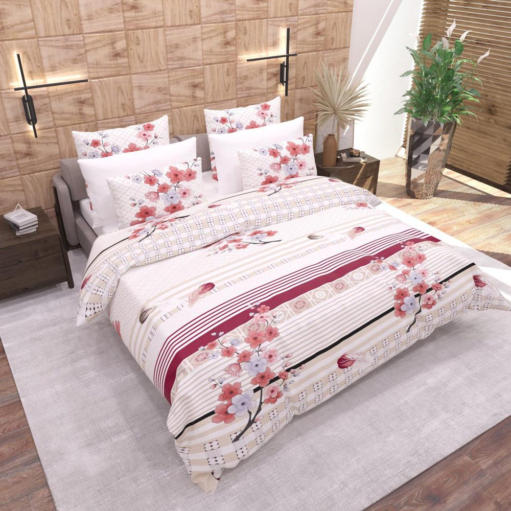 Комплект постельного белья ранфорс Сакура Marcel 20-113 Двуспальный евро комплект
