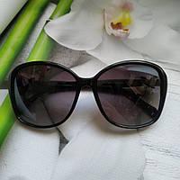 Женские солнцезащитные очки черные с бабочкой