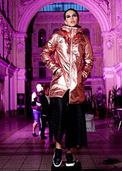 Куртка  NAVYSAND демисезонная глянцевая розовая  размер XXL(192302)