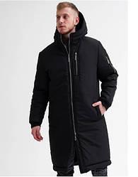 Мужская зимняя куртка Asos Снеговик длинная черная размер L (22103)