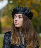 Модный женский берет KENT&AVER  из экокожи черный (576337)