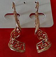 691. Серьги с цирконием оптом, серьги ассиметрия. Позолоченная бижутерия Xuping Jewelry