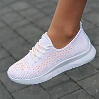 Кроссовки женские белые летние весенние модные популярные ( код 5546 ) - жіночі кросівки білі літні зручні, фото 1