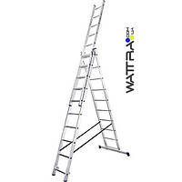 Лестница алюминиевая универсальная VTL310 (3х10) TRIOMAX VIRASTAR (3 части / 10 ст,  6,15 м / 2,8м, 16 кг)