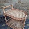 Плетеный столик-тележка на колёсиках из лозы
