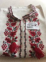 """Лляна чоловіча вишиванка з червоно-чорним орнаментом """"Дуб Калина"""" розмір 54"""