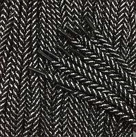 Шнурки средние с запаянными концами цв черный+серебро 90см (уп 50пар)Ф