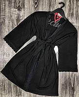 Черный хлопковый халат для дома с кружевом, молодежные женские халаты.