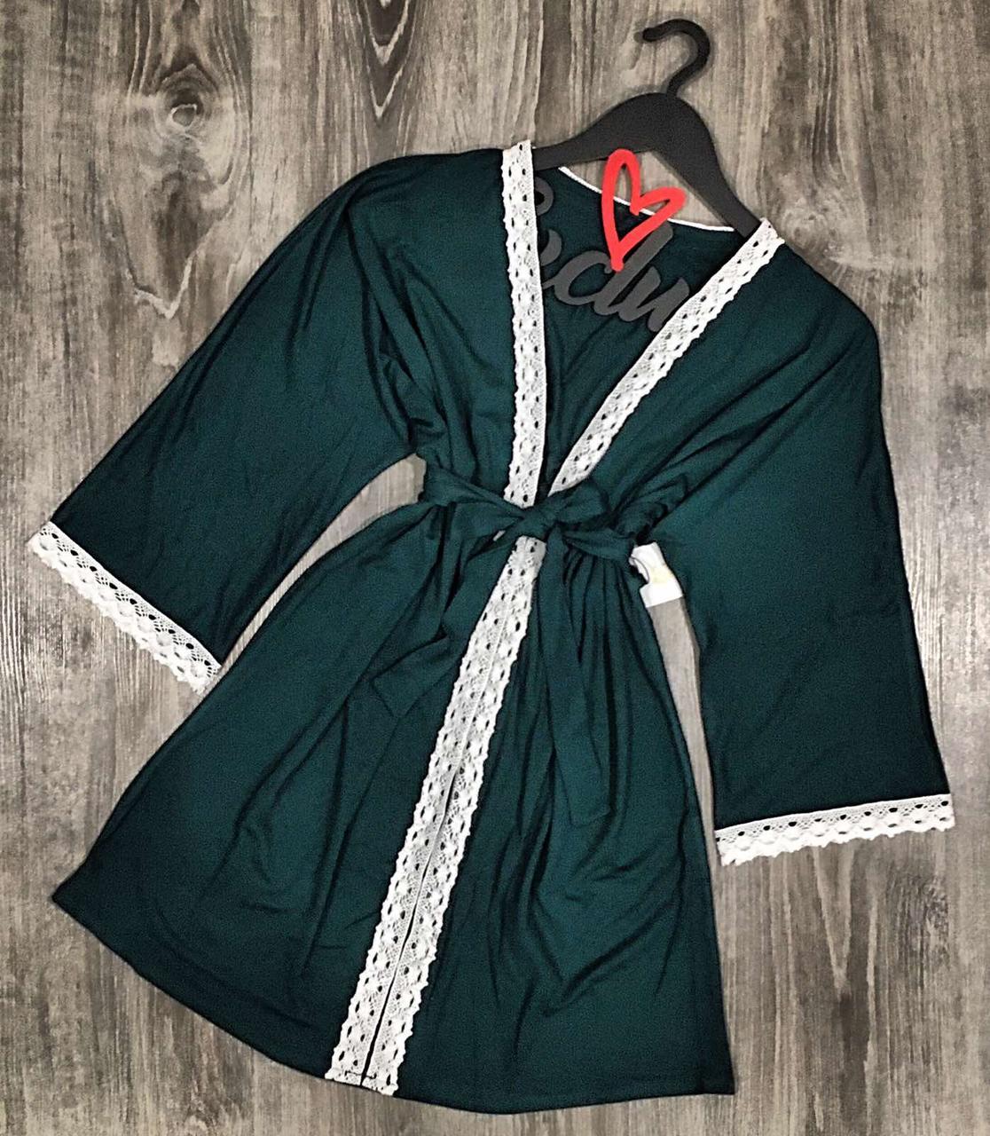 Изумрудный короткий халат-кимоно для дома из вискозы 003.