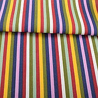 Деко-коттон красно-белые, желто-оливковые, сиренево-синие полоски, ш.150 (20405.180)
