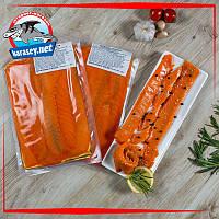 Слайсы лосося слабосоленые на подложке 500г, фото 1