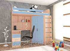 Кровать чердак для взрослых  с рабочим местом,КЧВР-2804