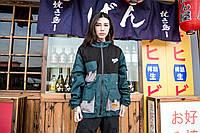Женская куртка-ветровка Skatepark (Скейтпарк), изумрудная с черным, код FL-125