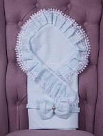 """Летний конверт-одеяло для новорожденных """"Гербера"""" ментол"""