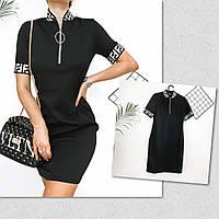 Женское короткое платье-поло, черное, код G-128