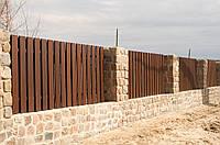 Деревянный вертикальный забор для дачи LNK