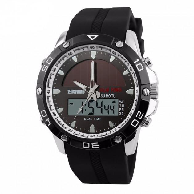 Skmei 1064solar серебристые спортивные часы мужские