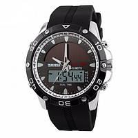 Skmei 1064solar серебристые спортивные часы мужские, фото 1