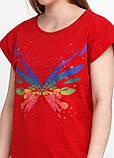 Футболка женская красная однотонная Kafkame, S,M,L, фото 3